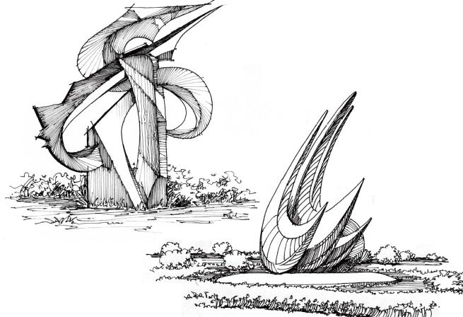 风景园林手绘线稿,可下载打印_5