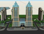 欧式双塔型综合体建筑设计