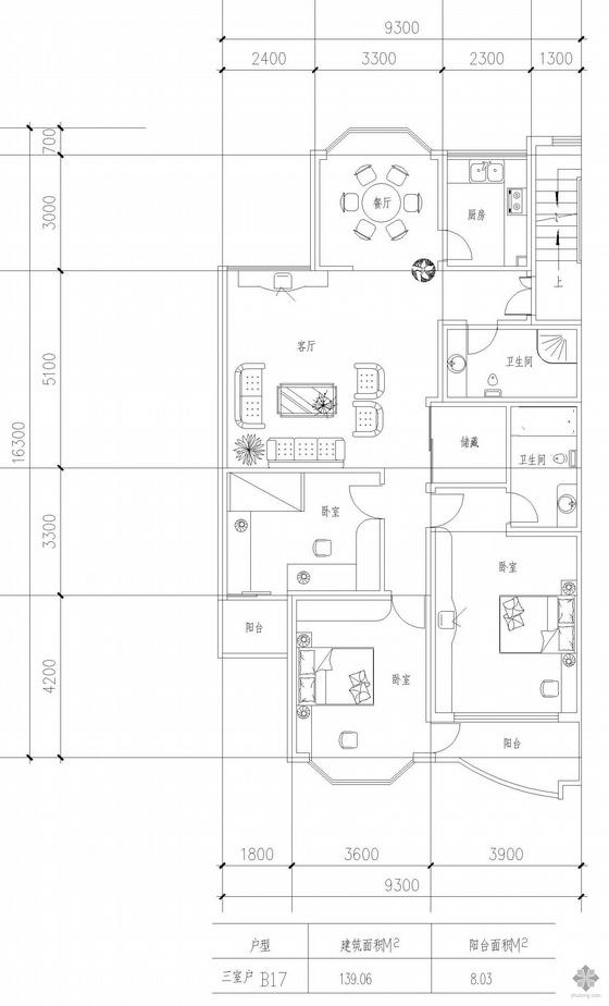 板式多层一梯两户三室一厅二卫户型图(139/139)