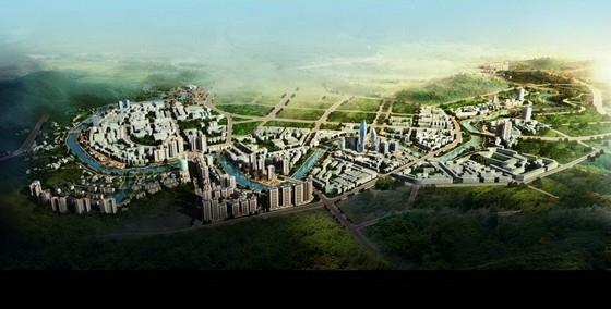 [四川]综合多地块滨河城市沿线景观规划设计方案-鸟瞰图
