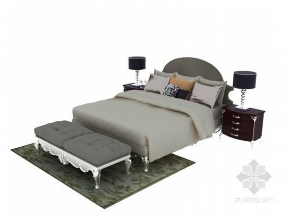 舒适欧式床3D模型下载