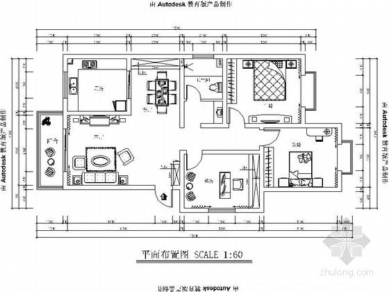 [贵阳]精品简欧风格三居室样板间装修施工图(含效果)