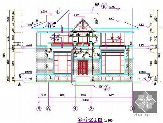 [广东]3层别墅建筑安装工程量清单计价实例(含施工图纸建筑面积479.0平方米)-立面图