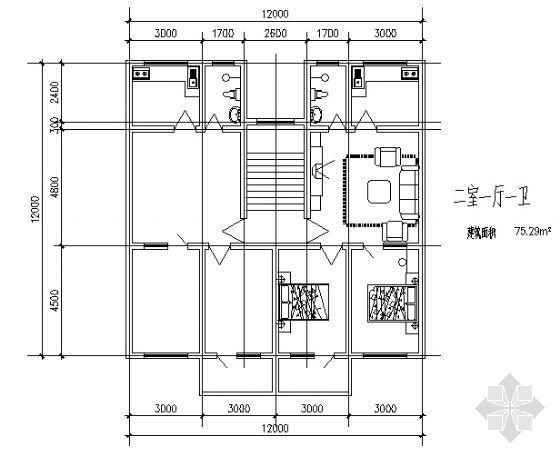 二室一厅一卫1(75.29平方米)