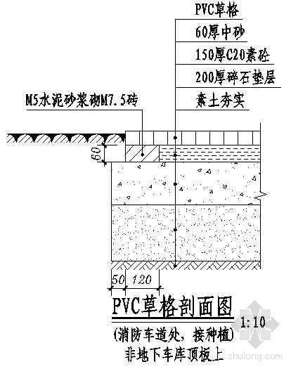 PVC草格剖面图(消防车道处接种植)
