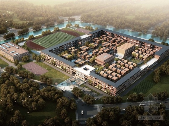 [上海]现代风格中学校区规划及单体设计方案文本(知名设计师)