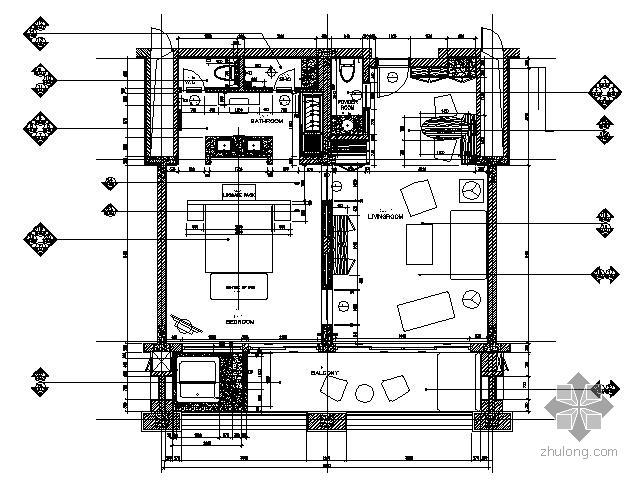 豪华五星酒店双间套房施工图
