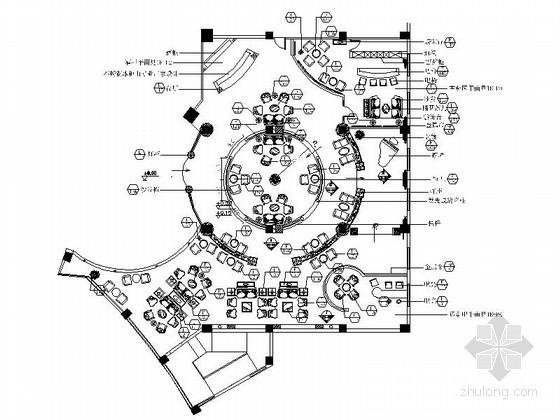 [成都]CBD五星级豪华酒店大堂吧装修施工图