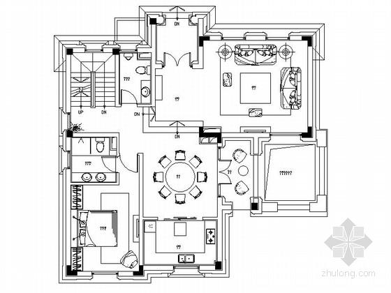 [无锡]名师现代古典风格双层别墅施工图(含效果)