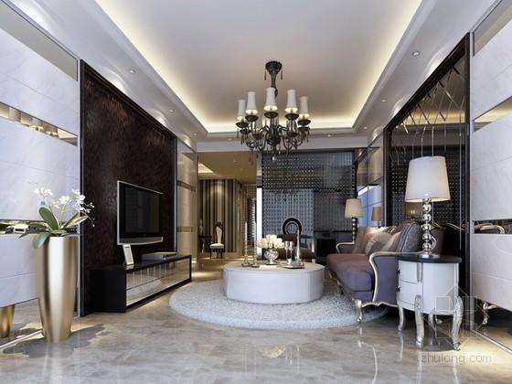 欧式新古典风格客厅3d模型下载