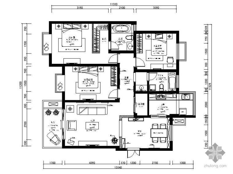 三室两厅设计方案图