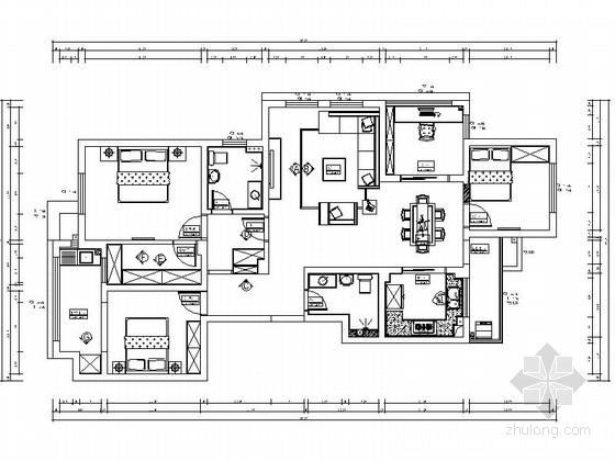 [浙江]某140平米四室两厅室内装修施工图