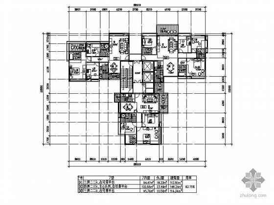 一梯三户户型方案(113/146/115)