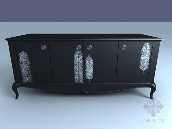 欧式边桌3D模型下载
