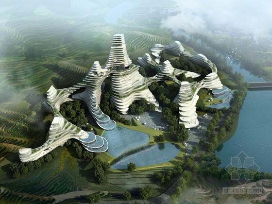 时尚层叠式建筑3D模型下载