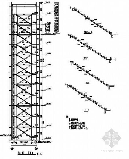 某主楼核心筒楼梯构造详图