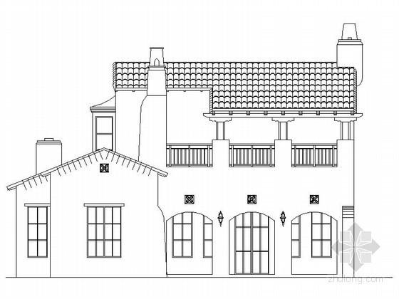[重庆]某二层西班牙式高级别墅建筑施工图(含建筑节能模型)