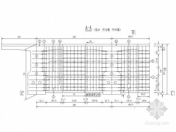 装配式预应力混凝土T梁桥端横梁钢筋布置图