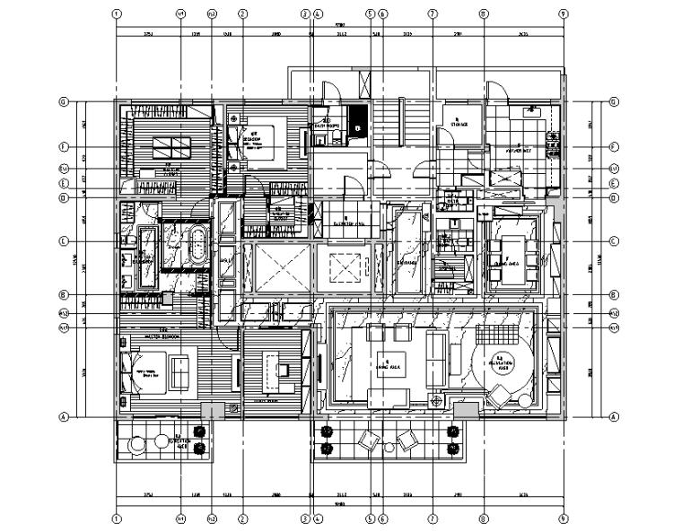 [上海]北美风格四居室住宅设计施工图(附效果图)