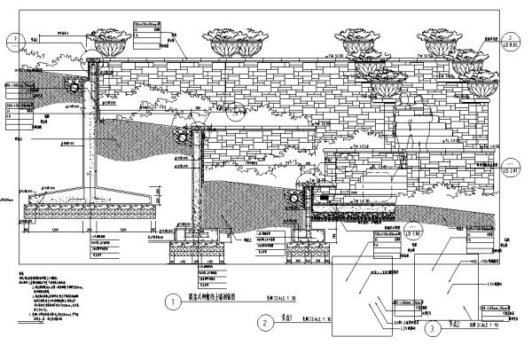 园林景观小品特色景墙、挡土墙CAD施工图合集