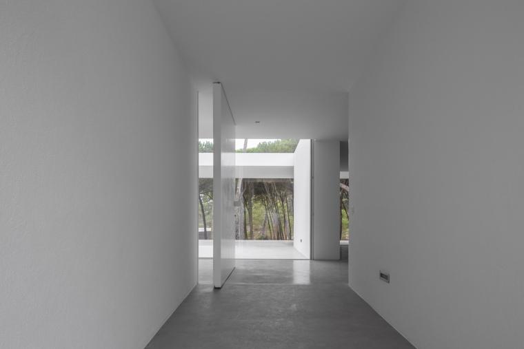 悬浮于松林沙地中的白色住宅内部实景图 (13)