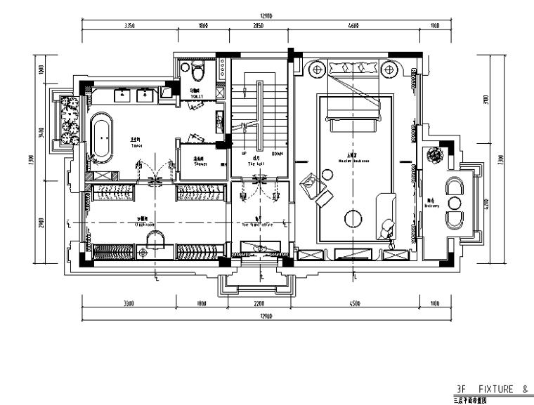 [广东]混合风格绿岛湖别墅样板房设计施工图(附效果图)