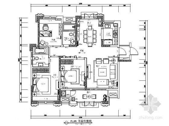 [安徽]奢派港湾小区简欧三居室样板房装修施工图