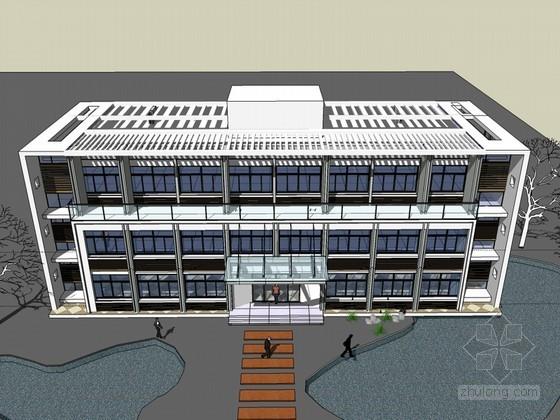 简约办公建筑SketchUp模型下载-简约办公建筑
