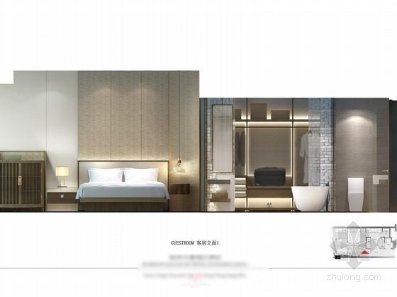 [杭州]某五星级酒店客房及电梯厅设计方案 立面