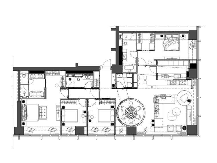 万科滨江豪宅样板房设计方案(效果图+施工图cad+物料书+实景照片)