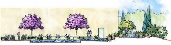 会所花园景观剖面图