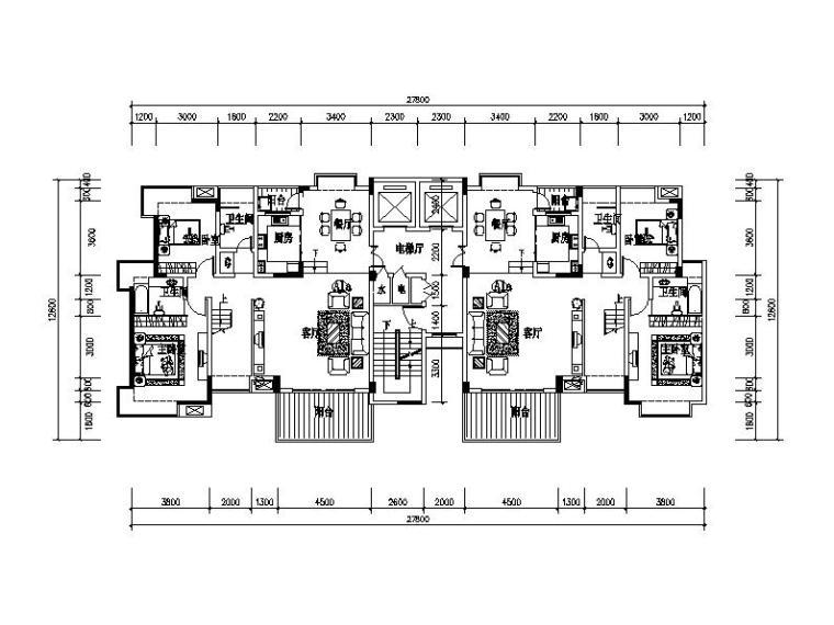 [江西]高层塔式住宅楼建筑户型图