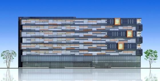 [安徽]七层开放抒情性办公综合体建筑设计方案文本-七层开放抒情性办公综合体建筑立面图