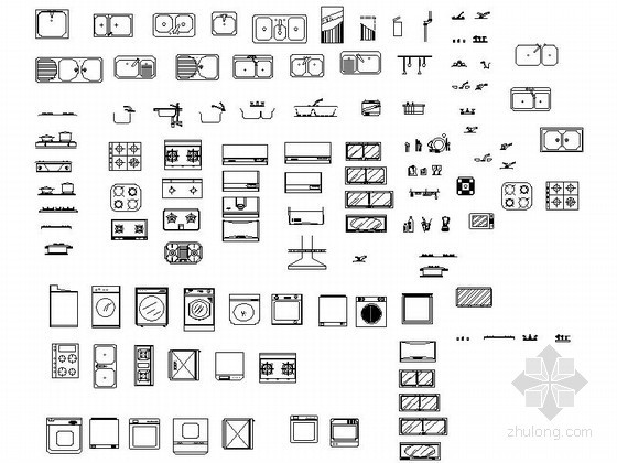 u型楼梯cad图块资料下载-室内装饰品CAD图块下载