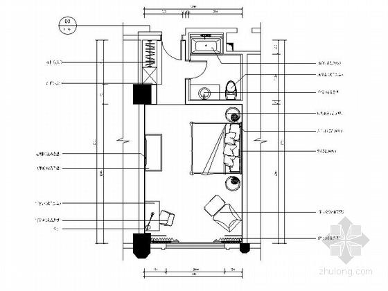 [广东]奢华酒店双人间客房室内CAD施工图(含效果)