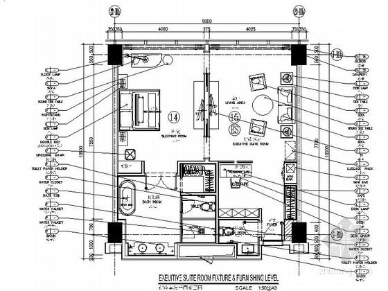 [云南]南亚第一城现代化豪华酒店客房室内装修CAD施工图(含效果)