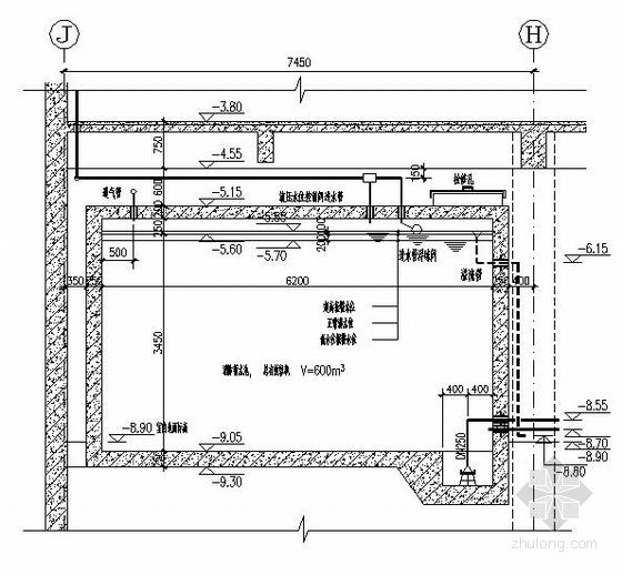 某水泵房平面和水池剖面图