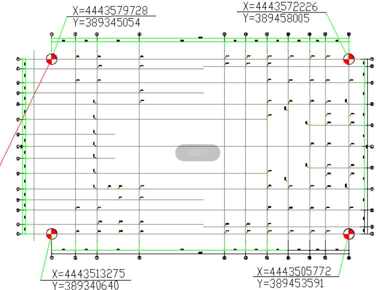 甘肃文化艺术中心场馆钢结构测量方案(四层钢框架支撑+钢砼框剪结构)