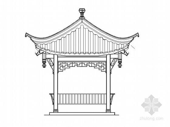 中式古典四角亭施工详图