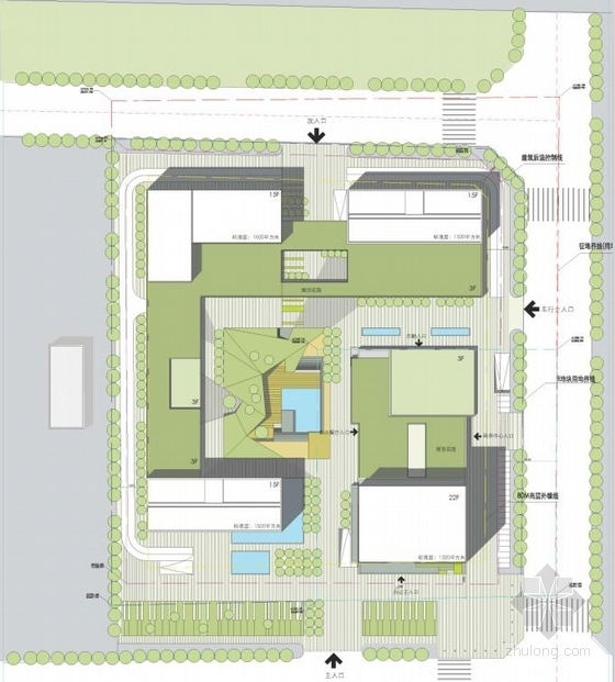 [广东]高层半围合式骑楼布局办公大厦建筑设计方案文本-高层半围合式骑楼布局办公大厦建筑总平面图