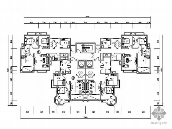 塔式高层一梯四北梯户型图(118/101)