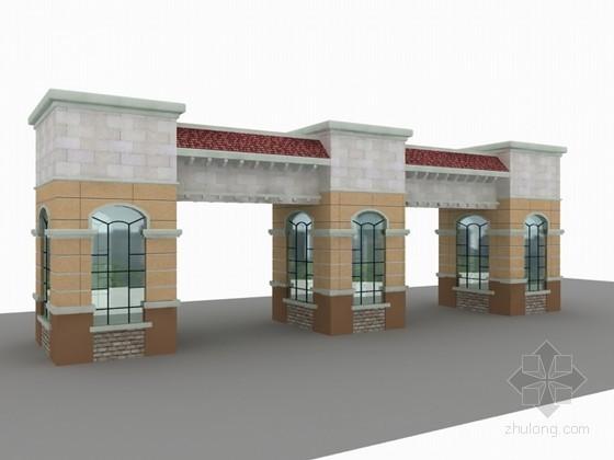 小区门楼3d模型下载