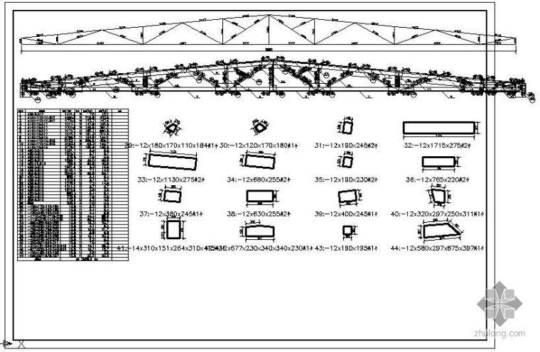 某30M跨梯形钢屋架节点构造详图