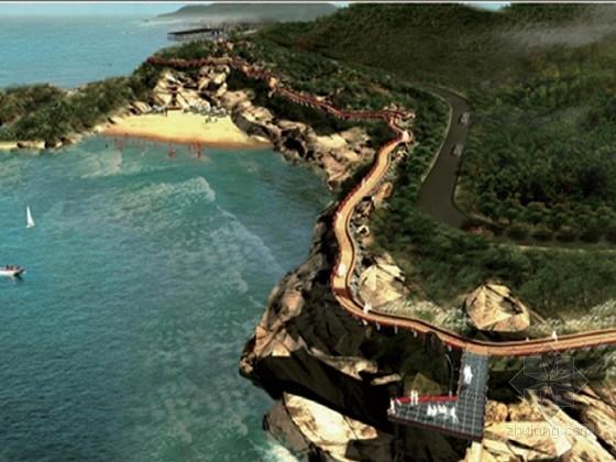 沿海沙滩景观带栈道设计图45张CAD