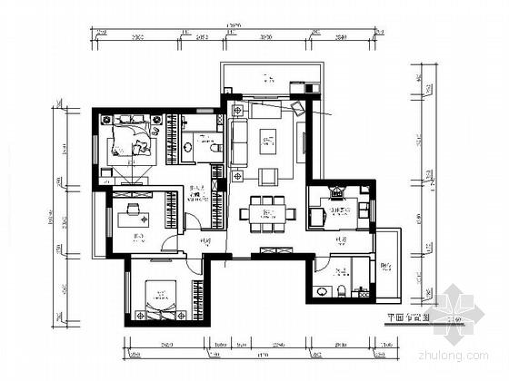 [杭州]现代简约风格两居室装修施工图(含效果图)