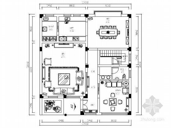 [武汉]森林公园度假村简欧独栋别墅CAD装修施工图(含效果)