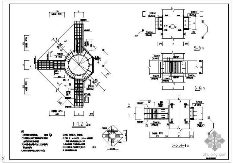 某钢管混凝土柱B型梁柱节点配筋大样节点构造详图