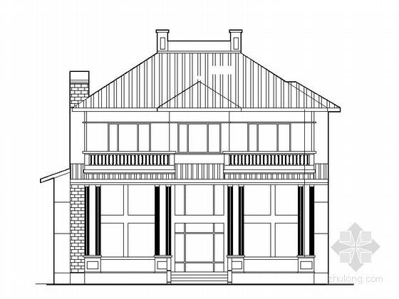 某二层坡屋顶独栋别墅建筑施工图(254平方米、南入口)