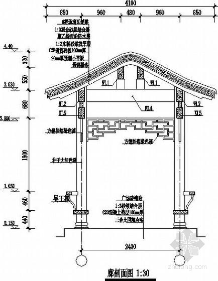 [施工图]仿古长廊建筑结构施工图——平面图,廊立面图,廊剖面图