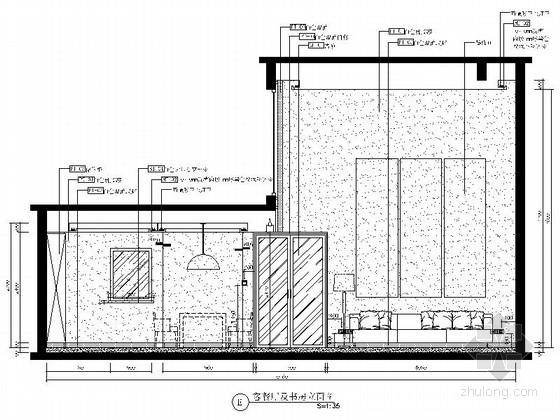 [山东]三层现代风格别墅室内装修施工图(含实景效果图)-[山东]三层现代风格别墅室内装修施工图客餐厅及书房立面图